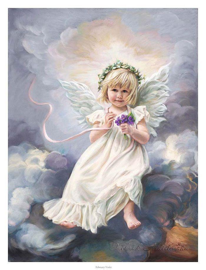 child angel holding violets ~ Sandra Kuck, artist