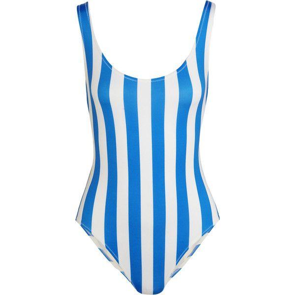 Solid and Striped The Anne-Marie striped swimsuit (£115) ❤ liked on Polyvore featuring swimwear, one-piece swimsuits, swimsuit, bikinis, solid and striped, tops, azure, striped bathing suit, white bikini bathing suit and swimsuit swimwear