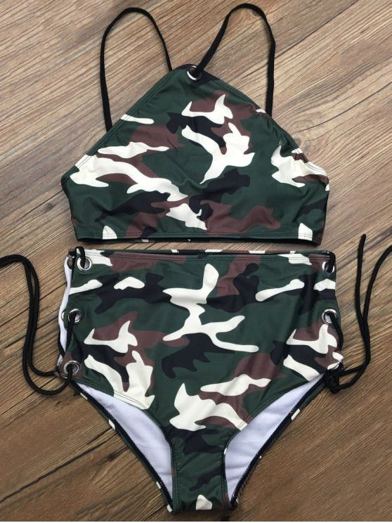 Lace Up High Waisted Camo Swimsuits