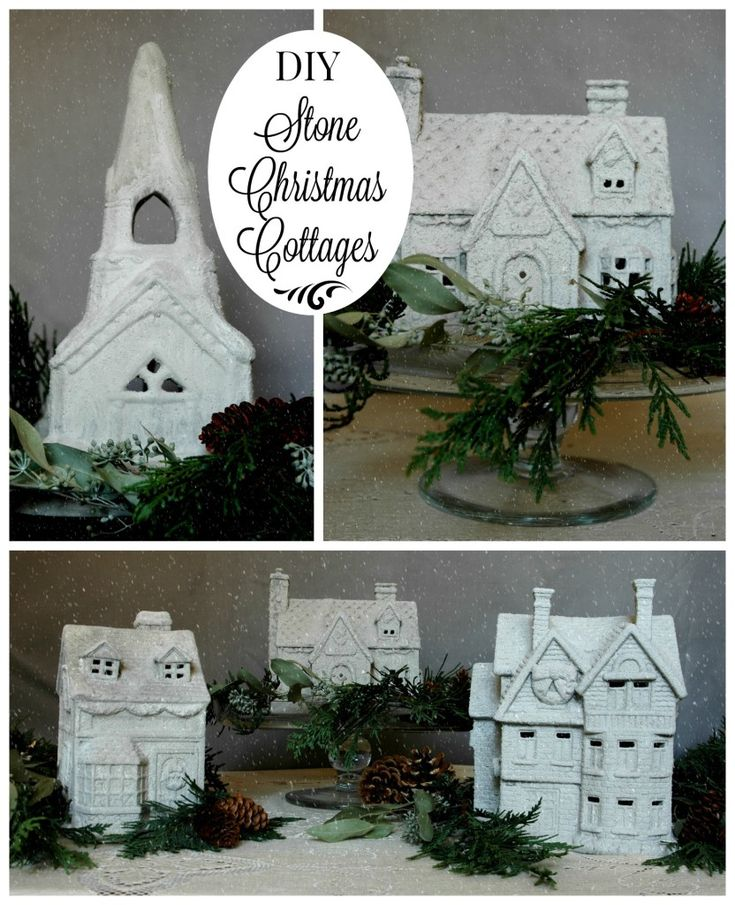 Easily turn thrift store Christmas villages into Chic Stone Cottages with Artisan Enhancements Fine Stone! Follow link to full to tutorial!