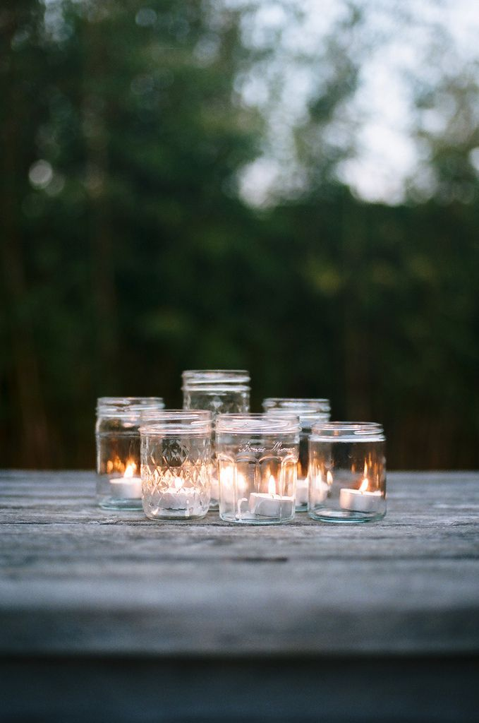 Mason jars as candle holders