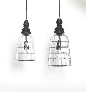 industrial Glass lightshade  black