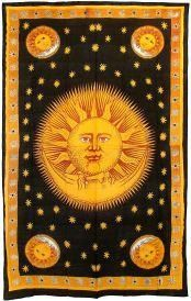 "Sun and Moon Tapestry 72"" x 108"", Wicca Wall Tapestry, Pagan Bed Spread, Wicca Bed Spread, Witchcraft Tapestry, Sun and Moon Wall Tapestry, Witchcraft Supplies,"