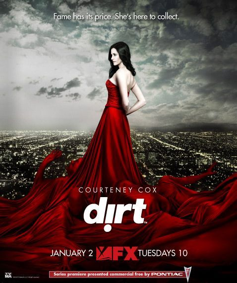 Dirt, 2007. Courteney Cox, Ian Hart and Josh Stewart. Courteney plays tabloid journalist, Lucy Spiller and her best friend and photographer of her publication Don Konkey played by Ian Hart was a manageable schizophrenic. It was just good fun a true guilty pleasure. Cancelled after its 2nd season.
