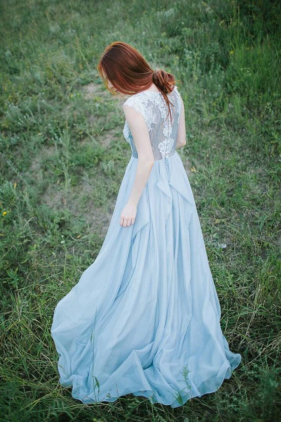 Grey wedding dress // Iris by CarouselFashion on Etsy