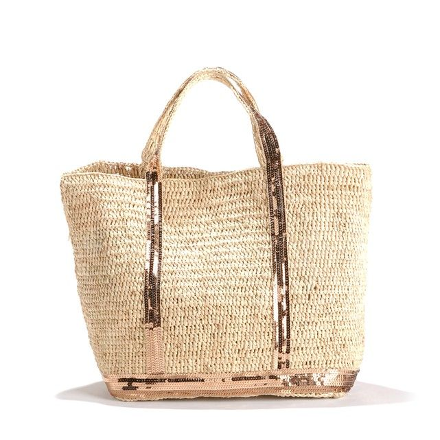 Vanessa Bruno shopper. Natural raffia and copper-coloured sequins on the handles extending down to the base. Band of sequins around the base of the bag.Product details • Carry in your hand/over the shoulder • Vanessa Bruno branding inside • Size: 30 x 43 x 13cmFabric content and details • 100% raffia • Please refer to the care instructions on the product label.