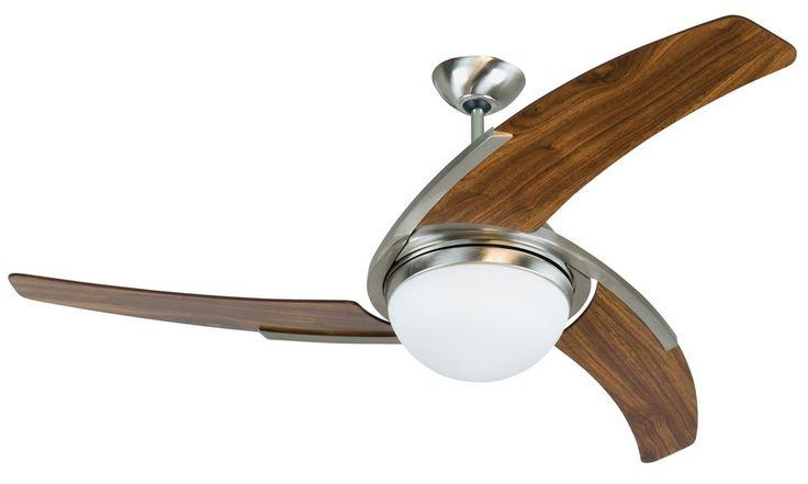 """Craftmade JU54SSW3 54"""" Juna Ceiling Fan in Stainless Steel/Walnut"""