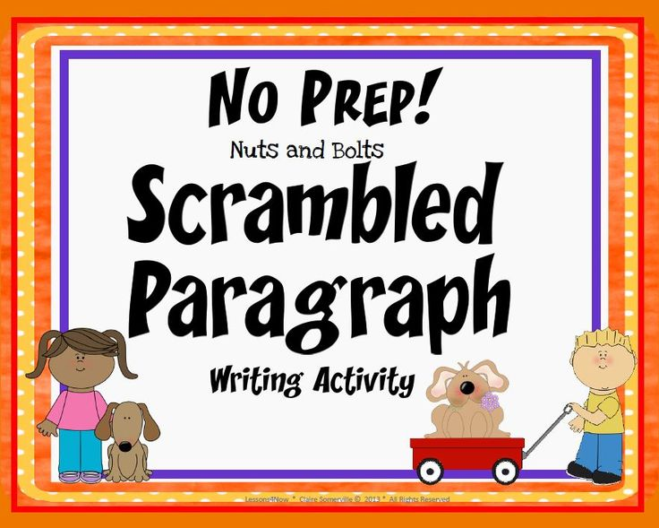 FREE SCRAMBLED PARAGRAPH Lesson~ This fun, print-and-go activity contains a scrambled paragraph with 8 sentences that can be put together only one way. Students use transitions and inferential clues to assemble paragraphs containing a title, topic sentence, three details with support, six (6) sentences, and, a closing sentence or clincher.  Like training wheels on a bicycle, working with scrambled paragraphs helps students understand how to write logical, organized paragraphs!