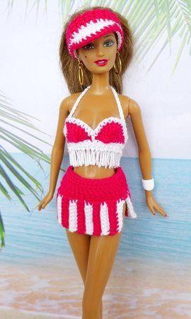 Strandmode für kleine Puppen - 6 Häkelanleitungen | Barbie stricken ...
