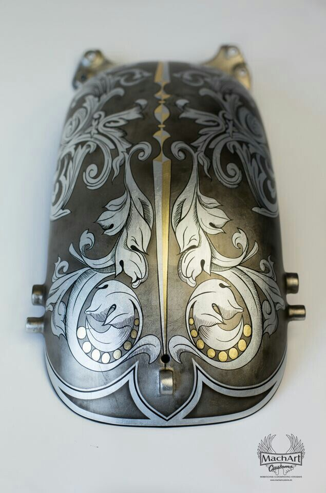 Silver leaf and airbrush design by MachArt Customs