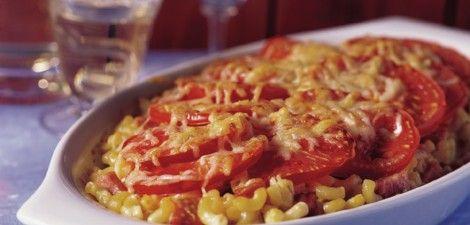 Macaroni met ham, roomkaas en kaas