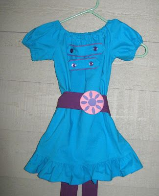Dress for 3 year old - like Marina on Fresh Beat Band.  Basic dress pattern was free!  I just added button on tabs and felt buckle.: 4Th Birthday, Band Birthday, Abbys Birthday, Halloween Costumes, Beat Birthday, 2Nd Birthday, Band Concert