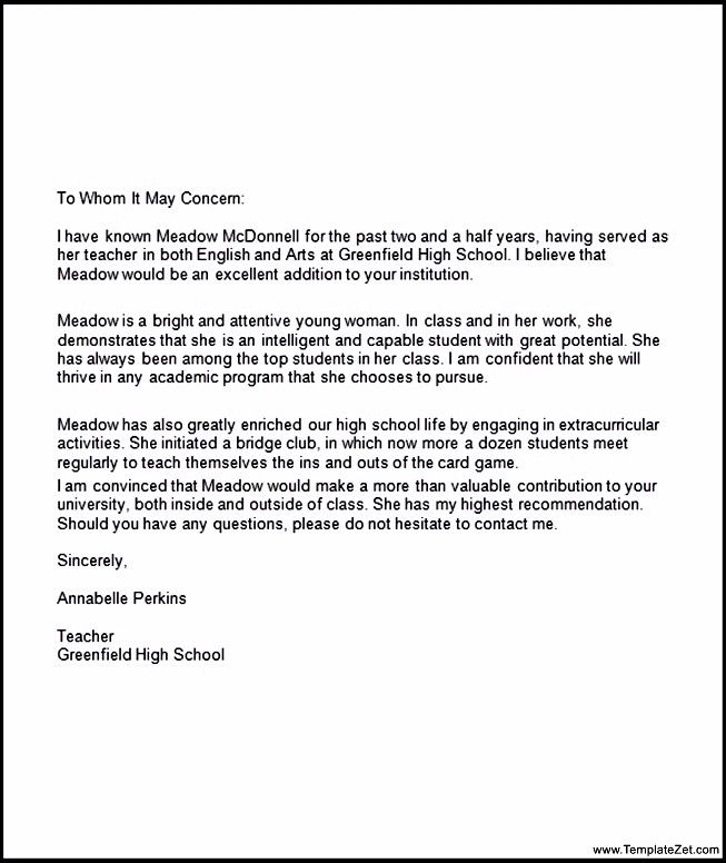 Recommendation Letter For Student Going To College Template