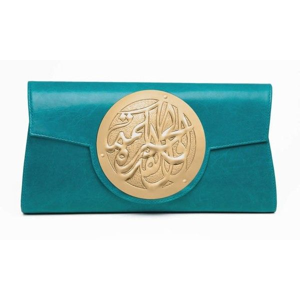 Dareen Hakim - Turquoise ($300) ❤ liked on Polyvore featuring bags, handbags, clutches, magnetic purse, dareen hakim, turquoise purse, blue clutches and turquoise handbags