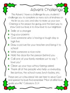 Advent Random Acts of Kindness worksheet available from Little Miss Catechist. Great way to celebrate Christmas in CCD, Catechism, and Sunday School classes!