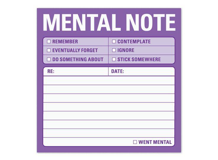 Serious awesomeness.... Mental Note Sticky Note - Useful Stickies by Knock Knock #KnockKnockStuff