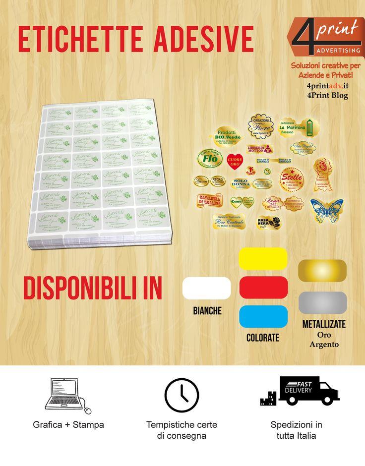 [ETICHETTE ADESIVE] Etichette adesive personalizzate indispensabili per la tua attività! Più di 300 modelli disponibili in bianche, colorate e metallizzate. Contattaci per un preventivo gratuito. 095 2190647 - 392 7962205 - info@4printadv.it