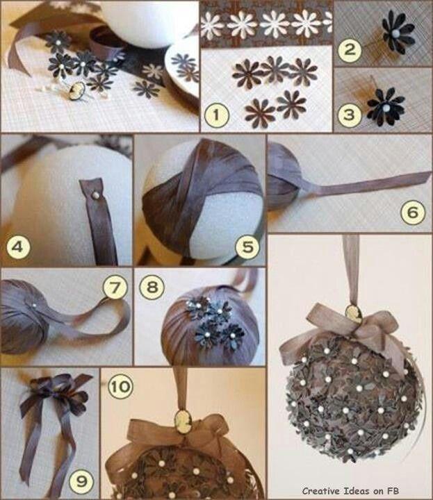 Decoracion paso a paso de bolas para tu arbol de navidad... realizado con cintas, alfiles y aplicaciones..muy sencillo.