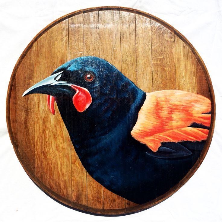 The Saddleback on recycled oak wine barrel lid. www.hannahstarnesart.co.nz