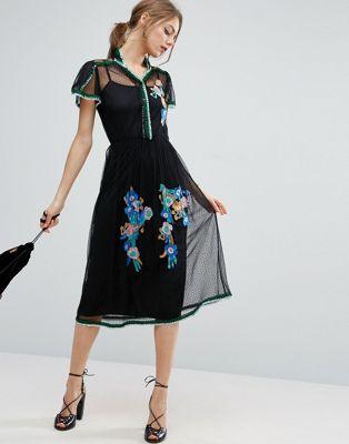 Сетчатое платье в горошек с вышивкой и отделкой пайетками ASOS PREMIUM