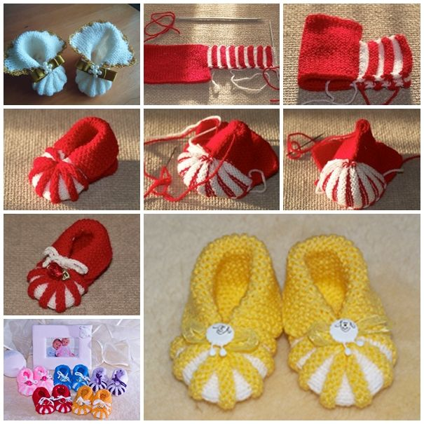 Easy Knitted Baby Booties for beginners-- Nice handmade gift !  Check tutorial--> http://wonderfuldiy.com/wonderful-diy-easy-knitted-baby-booties/