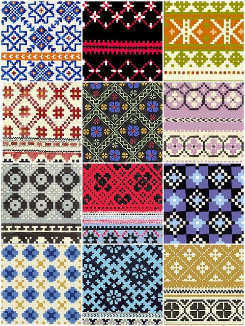 Latvian mitten patterns.
