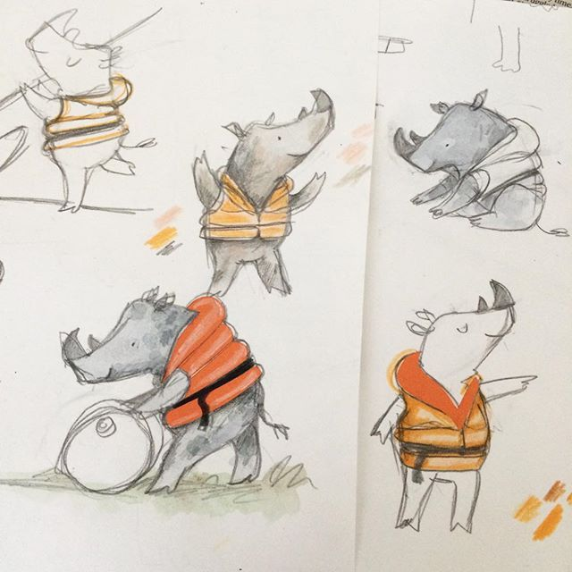 This month I will mostly be drawing Rhinos... #picturebook #characterstudies #wip #walkerbooks