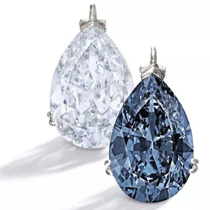 Bunny Mellon's jewelry collection, includes two platinum mounted blue diamond pendants. One is an important 9.15ct Fancy Blue diamond, left, and the other a magnificent and rare 9.74ct Fancy Vivid Blue diamond