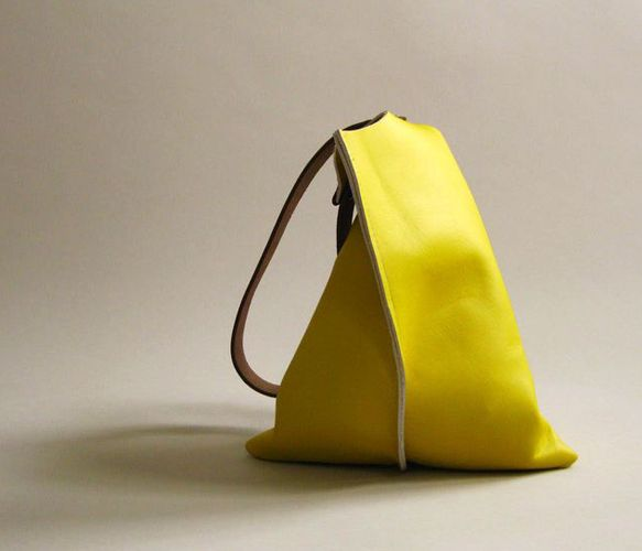 Slouchy Leather Bag in YELLOW