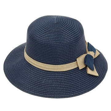 Women Ladies Straw Bowknot Fedora Derby Hat Summer Beach Sun Floppy Foldable Cap at Banggood