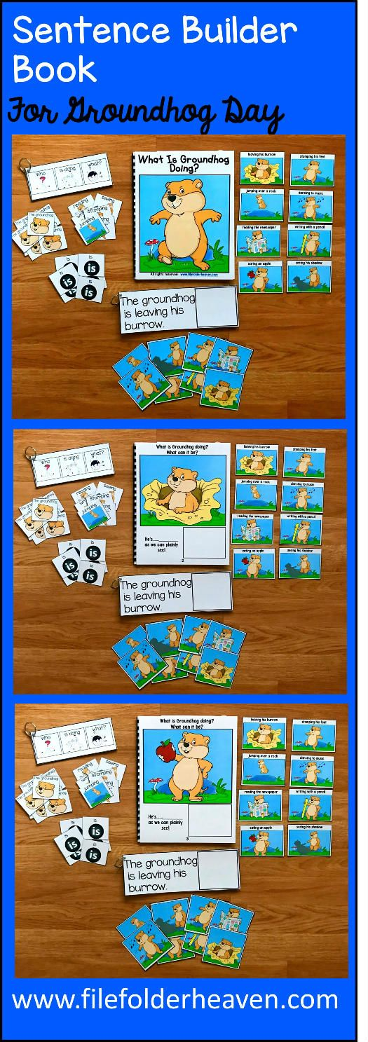 "This Groundhog Sentence Builder Book, ""What Is Groundhog Doing?"" focuses on identifying action words, building sentences, and sentence comprehension.  In a small group, the teacher or therapist reads the story as students follow along and match the correct action to each page.   Sample Text:  ""What is Groundhog doing? What can it be? He's.... __________ (leaving his burrow)  as we can plainly see"""