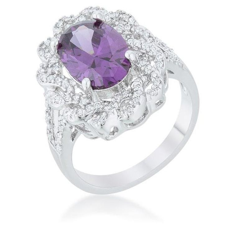 Amethyst ovaler Ring, Amethyst ovaler klassischer Ring, lila Kristall Statement Ring, lila Cocktail Ring, lila Edelstein Ring, großer Kristall – Jewelry