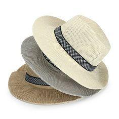 #Banggood Унисекс полиэстер соломы дискеты широкими полями шляпа солнца пляж фетровая шляпа панамы для мужчин женщин (1050565) #SuperDeals