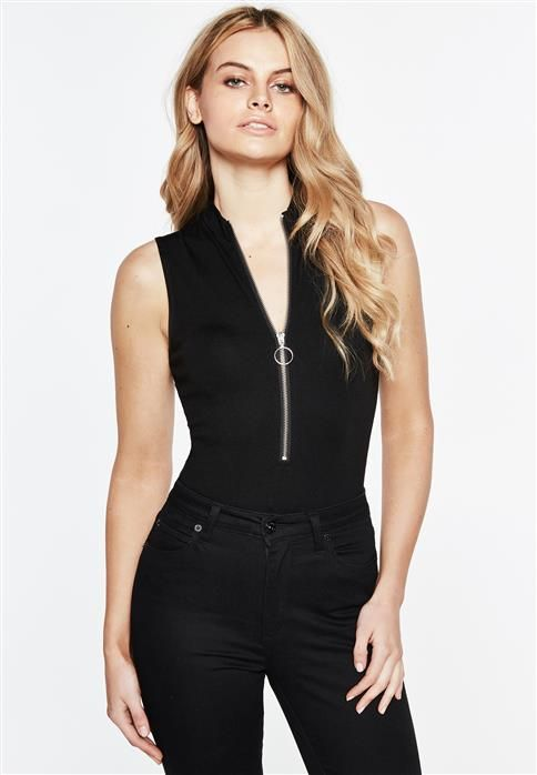 Make a style statement with zip up details.The Tegan Bodysuit features a folded neck back, sleeveless styling, fitted silhouette, exposed metal zip up the front and snap fastenings along the gusset.For a knockout party look, team with a leatherette skirt and ankle boots.Fabric Content: 68% Viscose, 27% Nylon, 5% Elastane