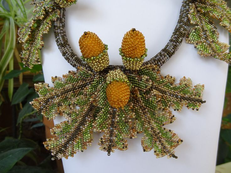 Beadwoven Acorns and Oak Leaves Necklace by gayhuntley on Etsy