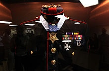 Dunham's Dress Blues - on display aboard USS Jason Dunham. We were there for the christening of the ship.
