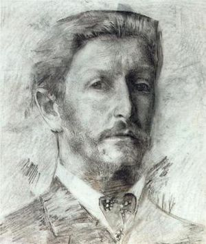 """Mikhail Vrubel self-portrait drawing, 1904. From """"100 Self-Portrait Drawings from 1484 to Today"""""""