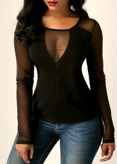 Long Sleeve Mesh Panel Black T Shirt | Rosewe.com - USD $28.15