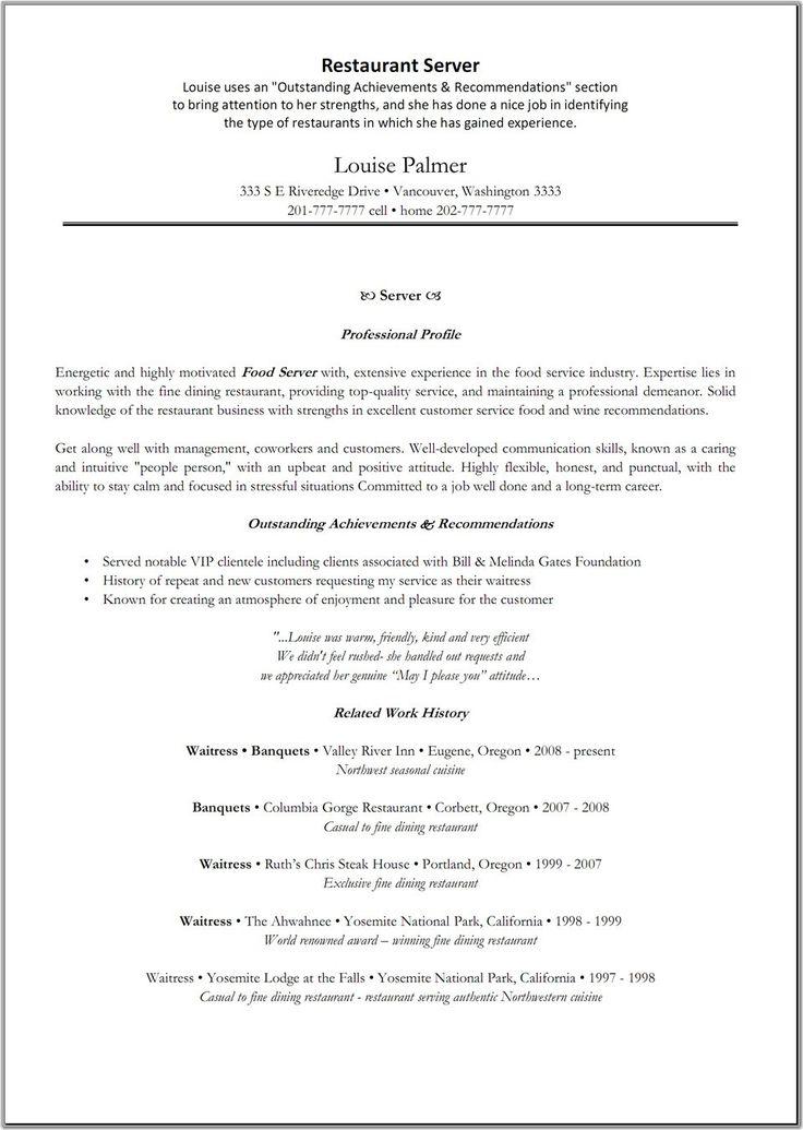 server resumes skills restaurant manager resume and awesome fine - fine dining server resume