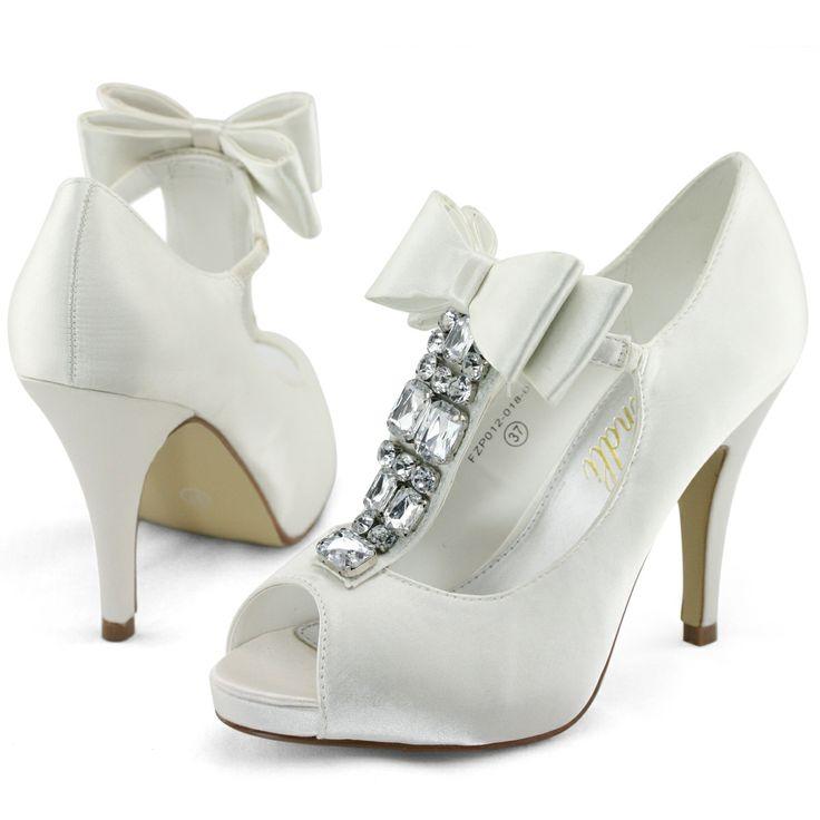 Shoezy New Womens Ivory Satin Wedding Bow P Toe Platform Heels Shoes Pumps