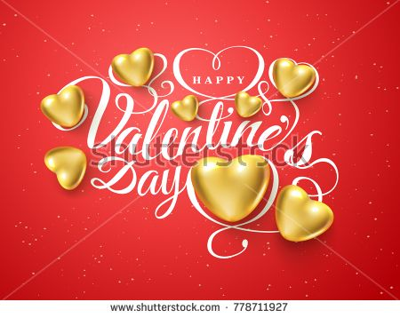 Happy Valentines Day Font Composition Golden Realistic Heart Isolated On Red Background Vector Beautiful