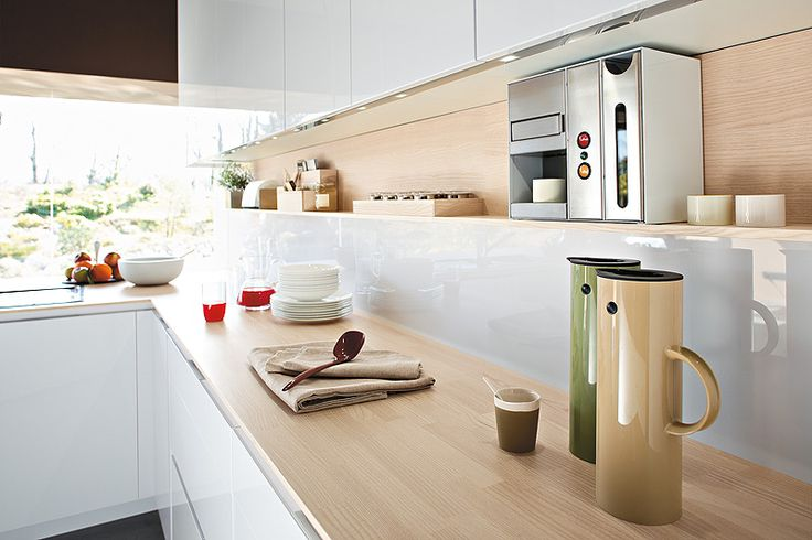 Kitchen countertop in beautiful natural oak.  This shelf above the full-width counter is a great idea.
