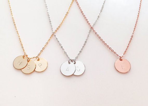 delicate initial necklace gold letter necklace silver disc necklace rose gold necklace dainty monogram charm bridesmaid gift by mignonandmignon on etsy