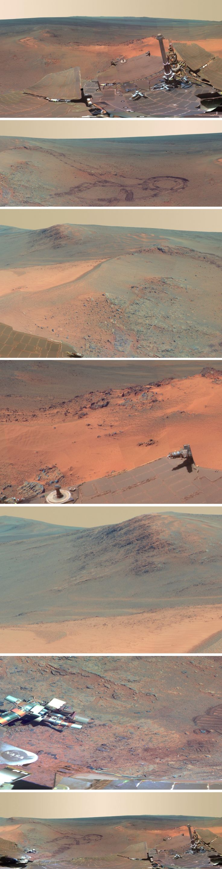 NASA has released a new panorama from its Mars Exploration Rover 2012 Opportunity, showing the terrain where the robot spent the four-month Martian winter.