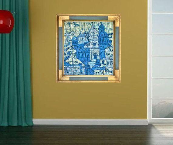 Fine art print blue green beige giclee print on by MarilionFineArt