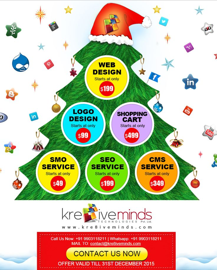 #Amazing #Offers for Christmas and New Year on #Logo #Design For more details Visit Us at: www.kre8iveminds.com Or Call Us @ 9903118211