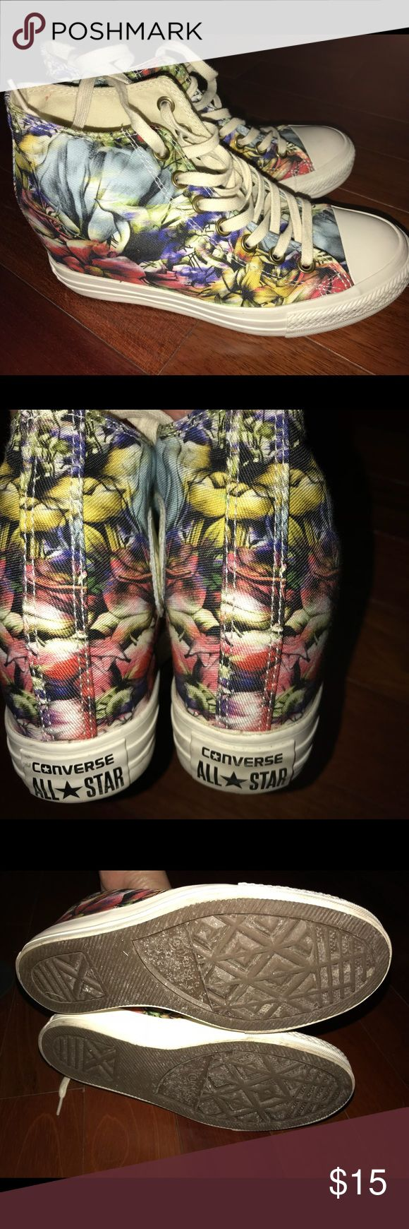 Converse wedge sneaker These are a fabulous pair of flower converse wedge sneakers Converse Shoes Sneakers