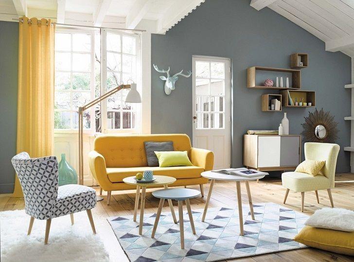 Canapé vintage 2/3 places Iceberg en tissu jaune Maisons du Monde prix 369.90 €