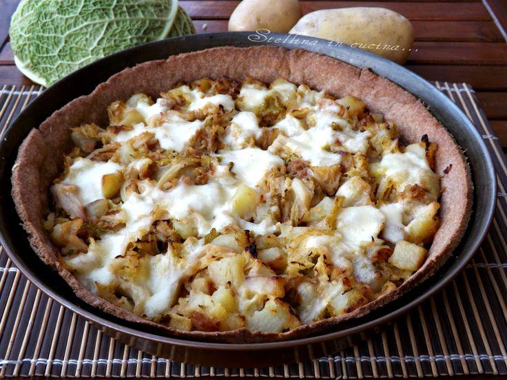 Crostata salata integrale con verza e patate