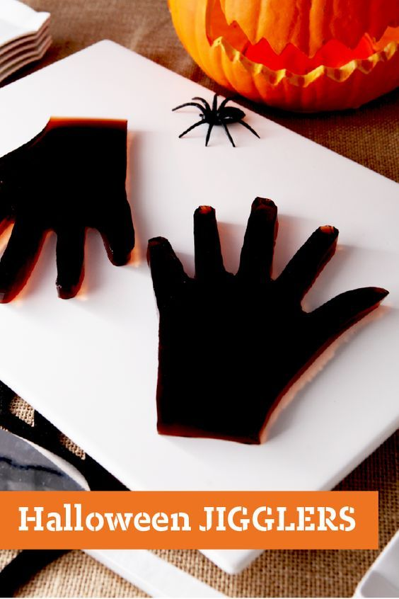 Halloween JIGGLERS – Depending on how you look at them, these Halloween JIGGLERS Hands made from grape- and orange-flavor JELL-O® are either very spooky—or kinda cute!